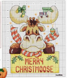 Schemi a punto croce gratuiti per tutti: Schema punto croce- la renna di babbo Natale