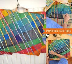 DIY Paper Bag Paintings for Kids Watercolor Fall Craft Mixed Media