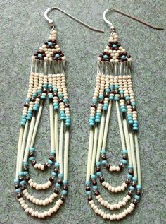"3 1/4"" LONG  Sterling silver EARWIRES WITH BACKS/CARDED,CZECH GLASS SEED BEADS SIZE 11/0,NATURAL QUILLS  TURQUOISE,BONE,BROWN,SILVER"