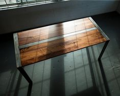 Walnut Desk or Dining Table, Steel Frame, Custom, 'Zeeva' Series (shipping/delivery not included, please inquire for added costs) Steel Dining Table, Walnut Dining Table, Dining Tables, Coffee Tables, Lake Tahoe, Rustic Office Desk, Desk With Keyboard Tray, Custom Crates, Expandable Table