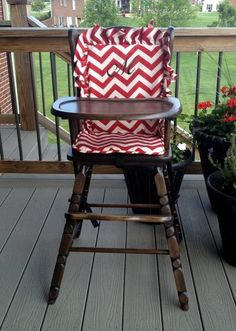 Lovely Wooden Highchair Cover/Pad/Cushion: Red. High Chair Cover/pad/cushion  Chevron Back/seat Cushion For Wooden/vintage Highchairs