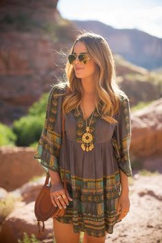 Julia Engel wearing our statement vintage tassel necklace, Boho leather cute bag and mini dress