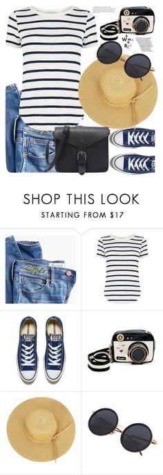 """""""Stripes.."""" by detroitgurlxx ❤ liked on Polyvore featuring Madewell, Oasis, Converse and Betsey Johnson"""