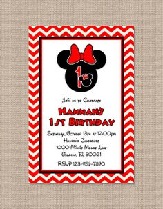 Red Chevron Minnie Mouse Birthday Party Invitation 2 by Honeyprint, $12.50