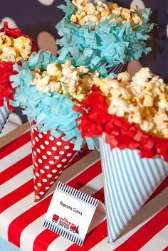 party hats as popcorn cones~clever