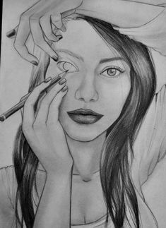 beautiful, black and white, cool, draw, drawing, eye, eyes, face, girl, laugh, life, lips, live, music, pencil, smart, smile, woman