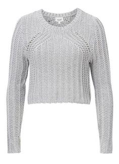 100% Cotton Knitted Crop Sweater. Comfortable fitting cropped style features a wide scoop neck and long fitted raglan sleeves. Available in Washed Grey Marle as shown.