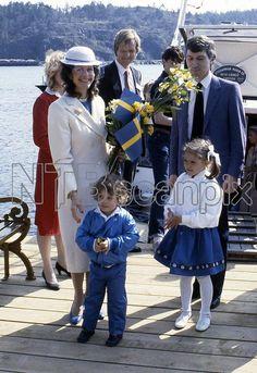 Queen Silvia, prince Carl Philip, crown princess Victoria Reopening of tram line 7 to Djurgården, 1983-05-07 Foto: Jajja Deboussard / Dagens Bild /IBL Bildbyrå