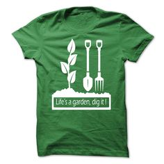 LIFES A GARDEN, DIG IT T-SHIRT 31353789 A great shirt for you or a gift to a friend! 5.3 oz., pre-shrunk 100% cotton Dark Heather is 50/50 cotton/polyester Sport Grey is 90/10 cotton/polyester Double-needle stitched neckline, bottom hem and sleeves Quarter-turned Seven-eighths inch