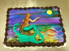 Mermaid buttercream cake by Laurie Grissom Spring Cake, Summer Cakes, Birthday Sheet Cakes, Birthday Cake Girls, Sheet Cake Designs, Airbrush Cake, Thomas Cakes, Beautiful Cake Designs, Cupcake Cakes