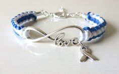 ALS Lou Gehrigs Disease Awareness LOVE Ribbon Charm Bracelet Optional Sterling Silver Alphabet Letter Charm by on Etsy Awareness Ribbons, Cancer Awareness, Letter Charms, Beads And Wire, Love Bracelets, Hand Stamped, Jewelery, Lou Gehrig, Jewelry Making