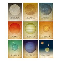 Five 6x9 Geek Chic Art Prints Science Art Astronomy by meganlee