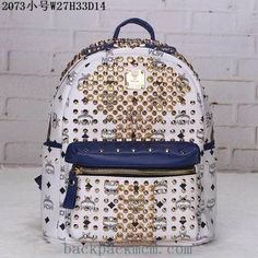 New MCM Stark BackPack White Blue Mini Small Middle [MCM-MMK2AVE52UP] - $176.00 : | I found the Bags Home | Scoop.it