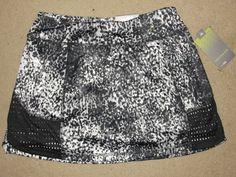 NEW Tek Gear Blk Wht Gray Mid Rise Skort Skirt Shorts Fitness Yoga Tennis Size S #TekGear #SkirtsSkortsDresses