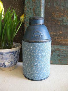 Antique 1851 pantry tin with blue calico * 6stringbluesman ~ ebay.