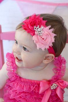 Princess Shabby Headband, Baby headband, Shabby Chic headband, newborn headband, flower headband, baby girl headband