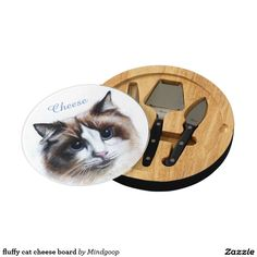 fluffy cat cheese board round cheeseboard