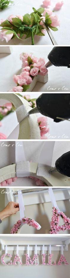 Como o Céu: Tutorial letras em MDF com flores