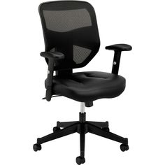 Basyx VL531 Series Black Bonded Leather Mesh High-Back Chair