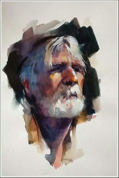 Old man white beard watercolor portrait painting