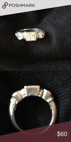 Judith Ripka ring Sterling silver 3 stone cubic zirconia judith ripka Jewelry Rings