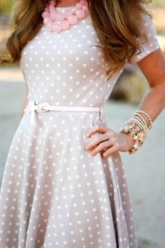 Polka dot dress and chunky necklace