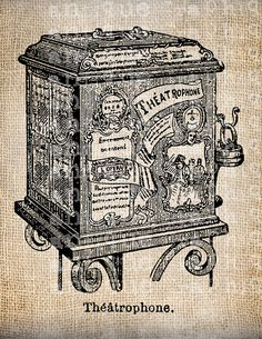 Antique French Phonograph Diagram Vintage Illustration Digital Download for Papercrafts, Transfer, Pillows, etc Burlap No. 4039. $1.00, via Etsy.