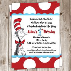 Dr Seuss Birthday Invitation by PeaSizeDesign on Etsy, $30.00
