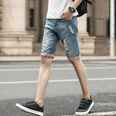 Men's hole cotton light blue denim short jeans Denim Shorts 2017 New Summer Regular Casual Knee Length Short 27-36 #Affiliate