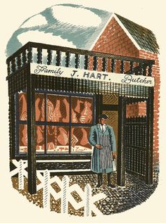 """Eric Ravilious: Family Butcher from """"High Street"""" lithograph (1938)"""