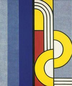 "immafuster: ""Roy Lichtenstein - Modern Painting With Yellow Interweave, 1967 . 142 x 122 cm "" Roy Lichtenstein Pop Art, Pollock Paintings, Modern Art, Contemporary Art, Industrial Paintings, Klimt, Jasper Johns, Art Walk, Wassily Kandinsky"