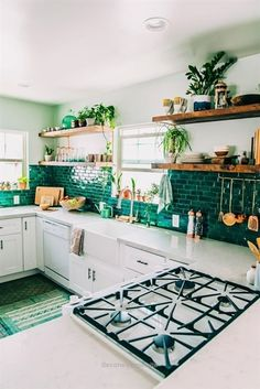 Dream Home :: Beach Boho Chic :: Living Space :: Interior + Outdoor :: Decor + Design :: Free your Wild :: See more Bohemian Home Style Inspiration kitchen decor turquoise Boho Kitchen Reveal: The Whole Enchilada! New Kitchen, Kitchen Dining, Kitchen Cabinets, Kitchen With Plants, Kitchen Paint, Country Kitchen, Cozy Kitchen, Kitchen Countertops, Scandinavian Kitchen