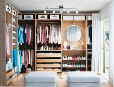 PAX closet inspiration Love this for my new walk-in closet Ikea Wardrobe Design, Wardrobe Organisation, Closet Organization, Organizing, Wardrobe Storage, Organization Ideas, Wardrobe Closet, Closet Bedroom, Home Bedroom