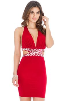 Goddiva Womens Jewelled Waist Mini Dress Red Bodycon Party Sleeveless Ladies
