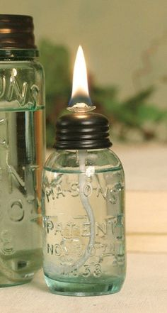 Miniature Glass Mason Jar Oil Lamp
