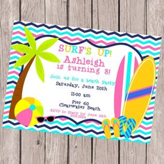 beach birthday party invitation summer birthday party theme beach