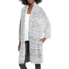 Women's Leith Fluffy Oversize Cardigan ($59) ❤ liked on Polyvore featuring tops, cardigans, grey cloudy marl, long cardigan, slouchy cardigan, slouchy tops, gray top and oversized tops
