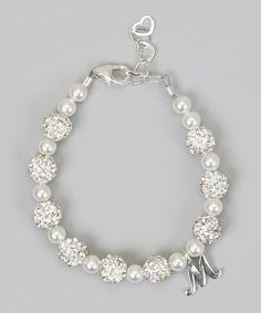 Look at this #zulilyfind! Crystal Dream Sterling Silver Initial Bracelet Made With SWAROVSKI ELEMENTS by Crystal Dream #zulilyfinds