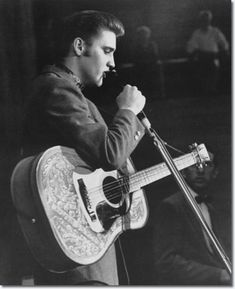 Elvis performing during first show in the fieldhouse - May 27, 1956 | Elvis, Scotty, Bill and DJ performed two shows at the UD Fieldhouse in Dayton : May 27, 1956 -