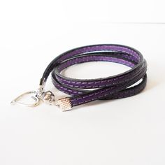 purple leather wrap bracelet, stitched leather cuff, heart charm cuff, unisex cuff, personalised charm cuff, boho chic jewelry, gift for her by jcudesigns on Etsy