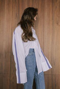 Stripe Accent Asymmetrical Button-Down Shirt   STYLENANDA