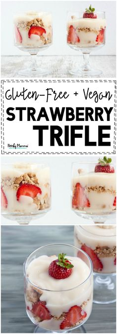 I cannot wait to make this easy gluten-free and vegan strawberry trifle. I mean YUM! Gluten Free Desserts, Gluten Free Recipes, Delicious Desserts, Dessert Recipes, Bread Recipes, Vegan Desserts, Fun Desserts, Appetizer Recipes, Baking Recipes