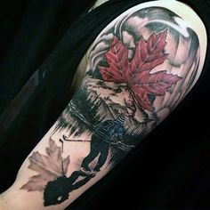 Maple Leaf hockey sleeve tattoo #tattoomemes