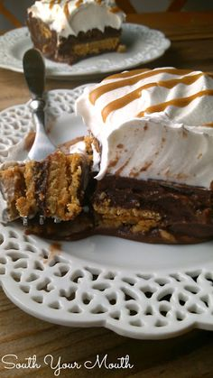 Chocolate Nutter Butter Icebox Cake! A layered dessert with rich chocolate pudding, peanut butter cookies, whipped cream and peanut butter drizzle.