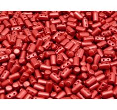 20gr Czech Glass Two-Hole Seed Beads RULLA 3x5mm Chalk Vega Red