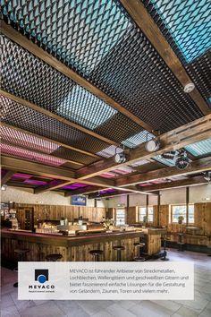 Showroom Interior Design, Industrial Interior Design, Industrial Interiors, Home Theater Design, Gym Design, Ski Bar, Expanded Metal Mesh, Container Buildings, Metal Ceiling