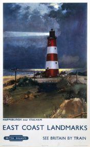 Happisburgh, Norfolk. East Coast Landmarks. Vintage BR Travel Poster by Frank H Mason. 1960