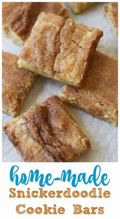 Home-made Snickerdoodle Cookie Bars!-Home-made Snickerdoodle Cookie Bars! Home-made Snickerdoodle Cookie Bars! – These soft, thick, buttery, moist, cinnamon-sugar Snickerdoodle Cookie Bars are to die for! Very few ingredients and super easy to make! Keks Dessert, Smores Dessert, Dessert Dips, Easy Dessert Bars, Simple Dessert Recipes, Dinner Dessert, Baking Dessert Recipes, Dessert Bread, Baking Ideas