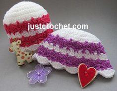Free crochet pattern for newborn beanie hat http://www.justcrochet.com/beanie-hat-usa.html #justcrochet