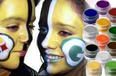 Natural Steelers and Green Bay Packers Face paint colors used:   Dark Green Black White Yellow Red Blue